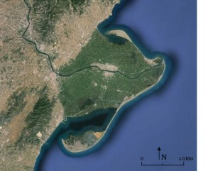 Satellite image of the Ebro delta, Spain. Source: Google Earth 2014