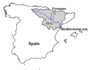 Figure 1. Location map of the Gallego catchment, Ebro basin, Spain. Source: Graveline et al. (2014).