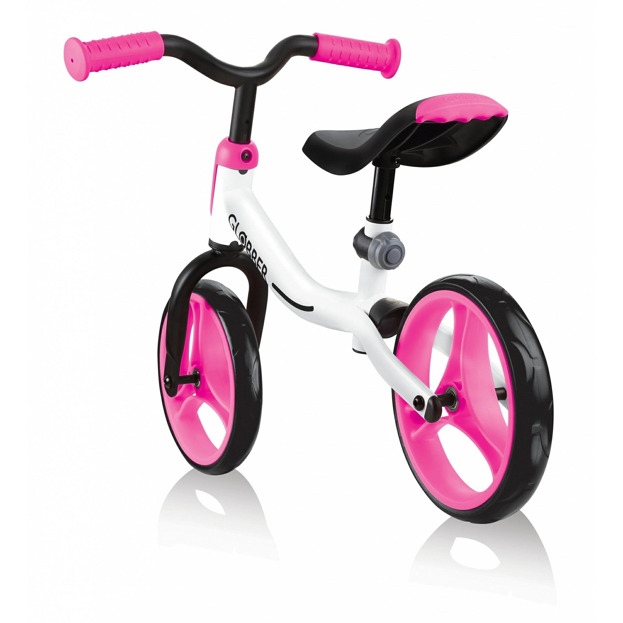 Globber GO BIKE balance bike for kids (boys and girls) aged 2 to 5 years old; adjustable toddler bike.