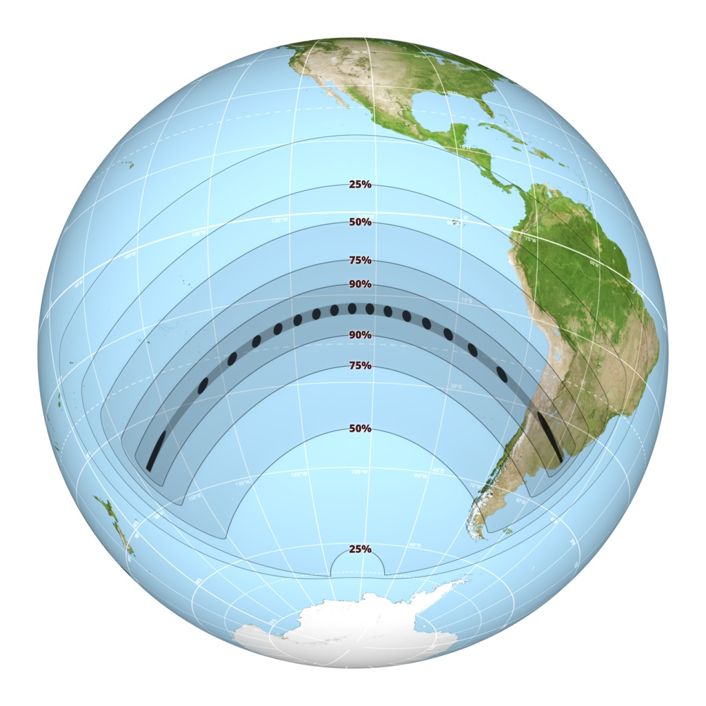 hight resolution of diagram of the eclipse path for 2 july 2019