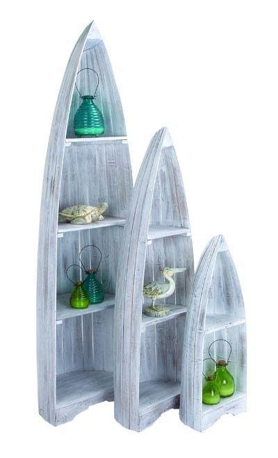 kitchen furniture set sink grinder of 3 whitewash boat shelves - globe imports