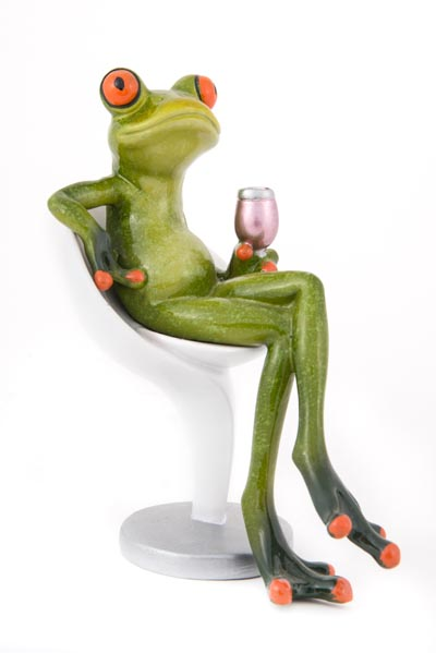 cool kitchen lighting freestanding frog on chair with a glass of wine - globe imports