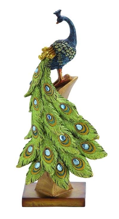 Peacock on Perch Figurine  Globe Imports