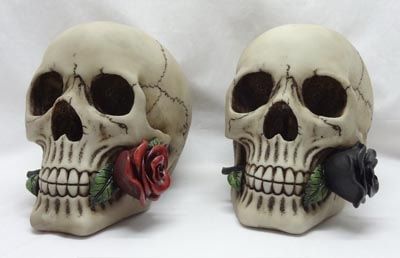 Assorted Skull with Rose in Mouth  Globe Imports