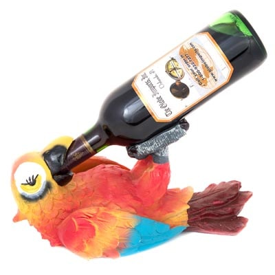 Drinking Parrot Wine Bottle Holder  Globe Imports
