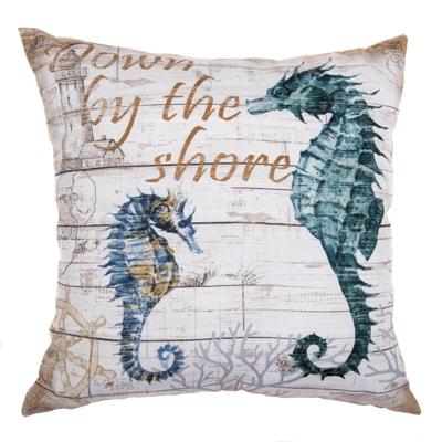 seahorses coastal pillow