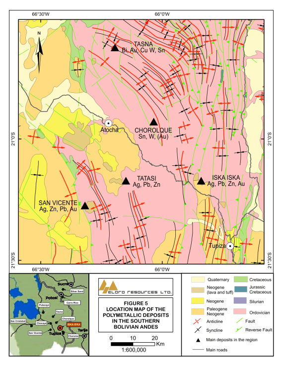 Geology of Southern Bolivia in Iska Iska Area showing locations of Mines and Major Polymetallic Mineral Deposits