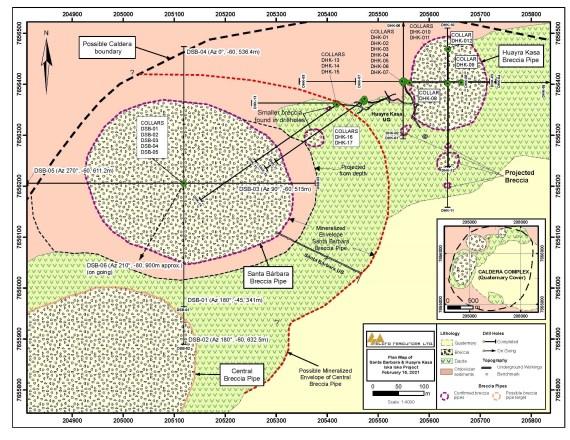 Figure 1: Geological Plan Map of the Santa Barbara Breccia Pipe area
