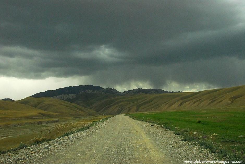 A heavy thunder storm brewing near Tash Rabat, Kyrgyzstan