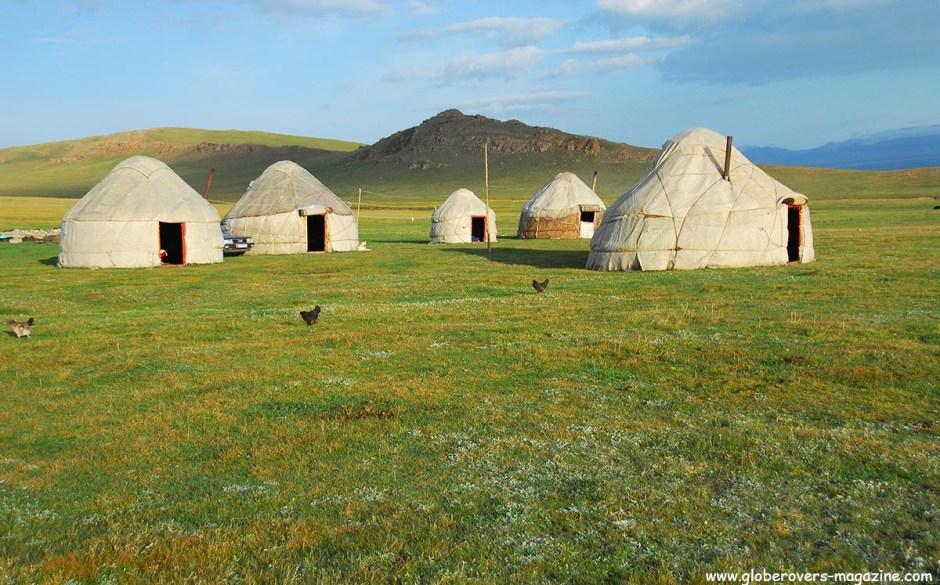 Yurts around Song kul Lake, Kyrgyzstan