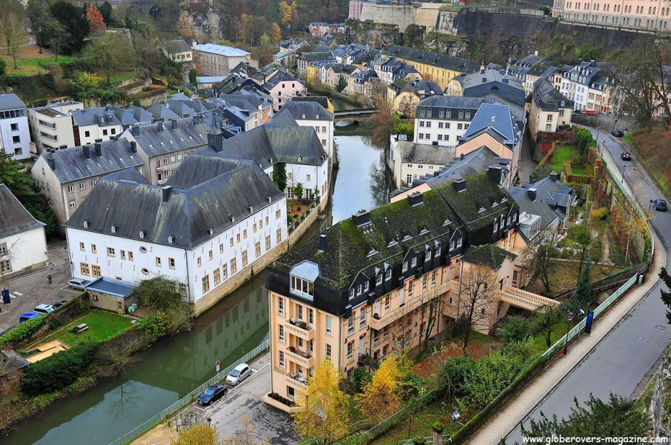 "View from the Ville Haute (""High City"") to the Ville Basse (""Low City"") and the Grund in the River Alzette gorge, LUXEMBOURG"