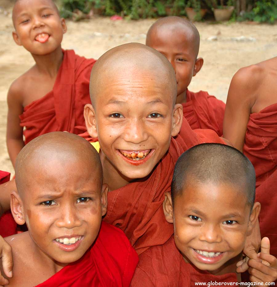 Portraits - Novice Monks, Village of Mingun, north of Mandalay, Myanmar