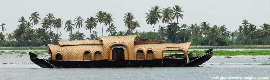 Houseboat on the backwaters of Alleppey, Kerala, INDIA