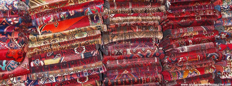 Persian carpets on sale at the Gold & Silver Bazaar, Esfahan, Iran