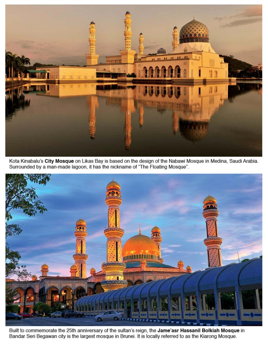 Borneo Island is the 3rd largest island in the world, and divided among Brunei, Malaysia, and Indonesia. Check out the impressive religious architecture.