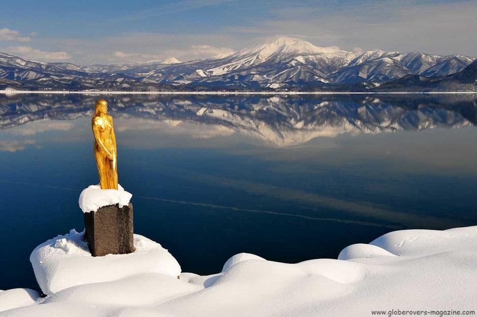 Statue Of Princess Tatsuko at Lake Tazawako In Akita Prefecture Japan