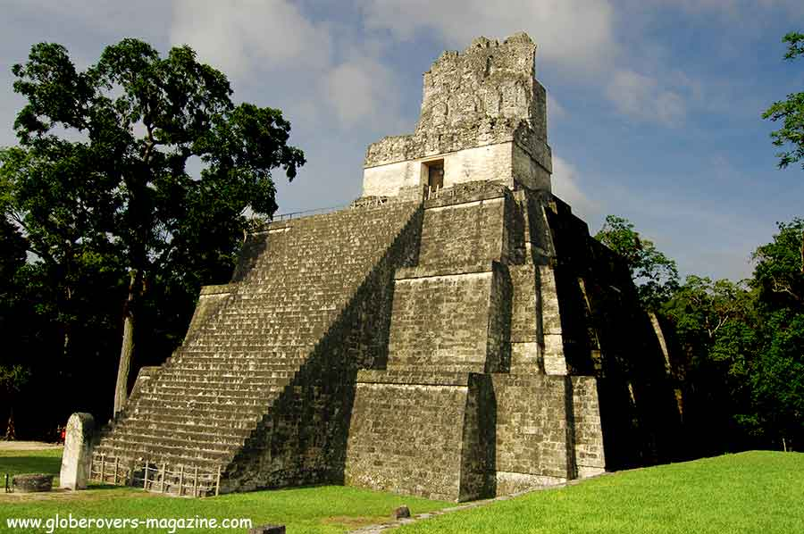 Temple of Ah Cacao (a.k.a. Temple of the Great Jaguar). It rises 47 metres (154 ft) above the jungle floor, Tikal, Guatemala