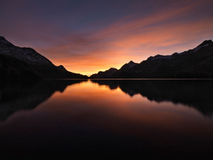 Silsersee Abendrot Spiegelung Alpen