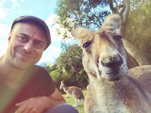 Selfie mit einem Känguru