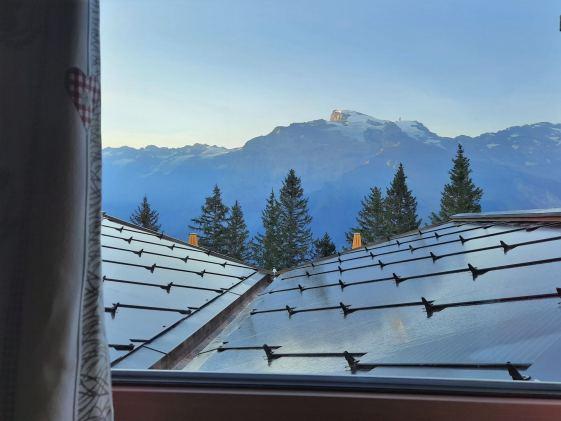 Blick auf den Titlis aus dem Zimmer der Berglodge © Eva Hirschi