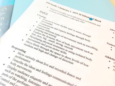 マレーシアのインターナショナルスクールの授業の内容を記した書類。学期の始まりに配布されるようです。