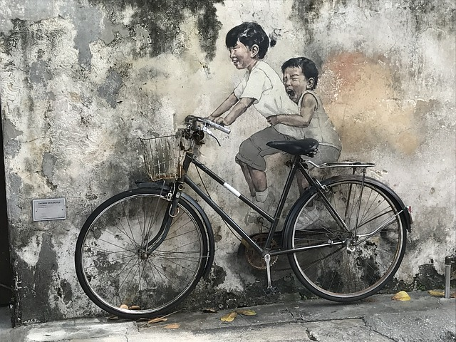 Little Children on a Bicycle mural in Penang