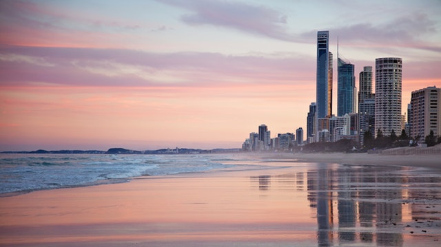Australian beach with skyscrapers
