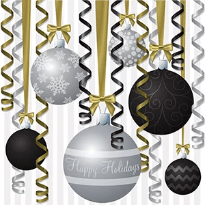 silver and black ribbon and bauble inspired happy holidays card300