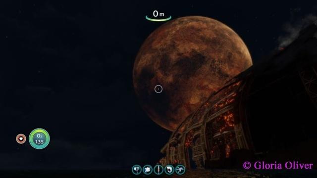 subnautica - burning Aurora and the moon.