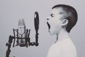 boy screaming/singing into huge mic - Losing My Voice! But its my Everything!