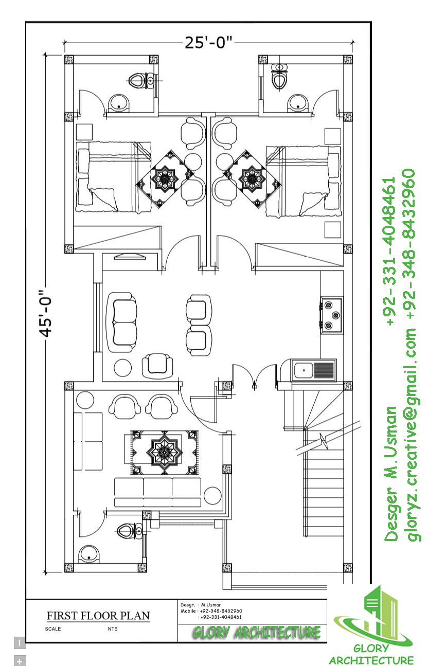 25X45 House Plan Glory Architecture