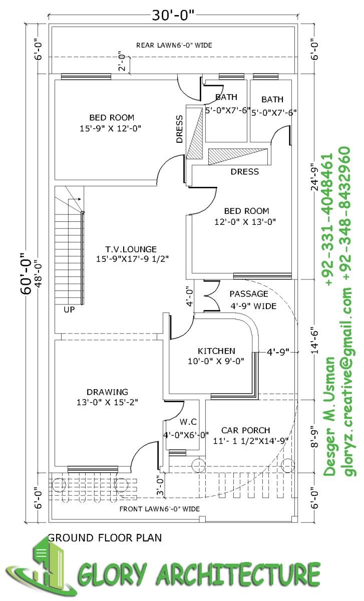 30x60-plans-5 Stan Marla House Plan on bahria town villas floor plan, lahore house floor plan, 2 kanal lahore floor plan, 2 5 marla layout plan,