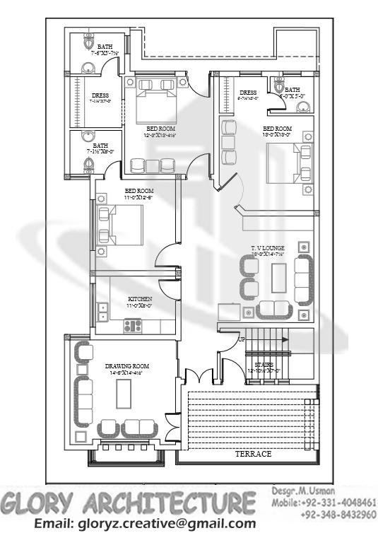 35×70 House plan, 7 Marla house plan, 8 Marla House Plan – Glory