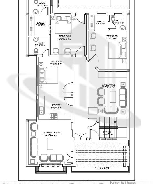 35×70 House Plan, 7 Marla House Plan, 8 Marla House Plan