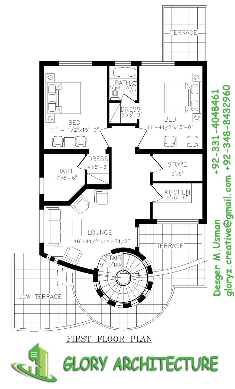 7 marla house plan, 8 marla house plan