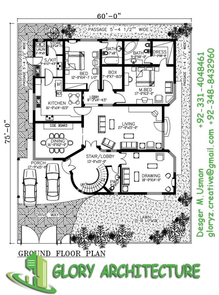 1.5 kanal house plan