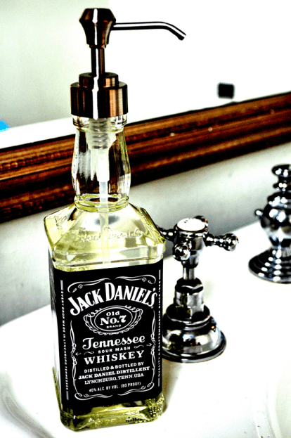 Funny DIY Gifts For Him: Jack Daniel's Soap Dispenser via Curly Birds