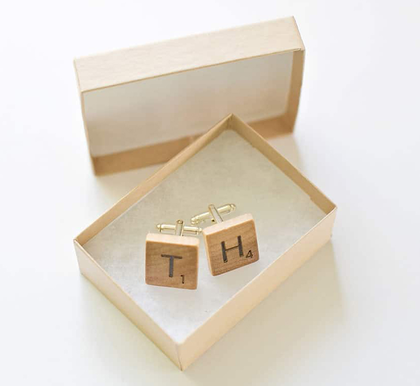DIY Gifts For Him: Scrabble Cuff Links via hello, Wonderful
