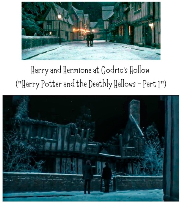 HARRY POTTER AND THE DEATHLY HALLOWS - PART 1 movie scene, Harry and Hermione at Godric's Hollow