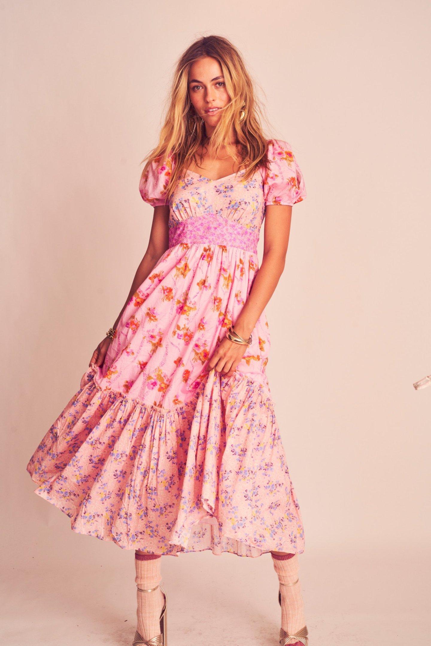 Pink Cottagecore Aesthetic Dress