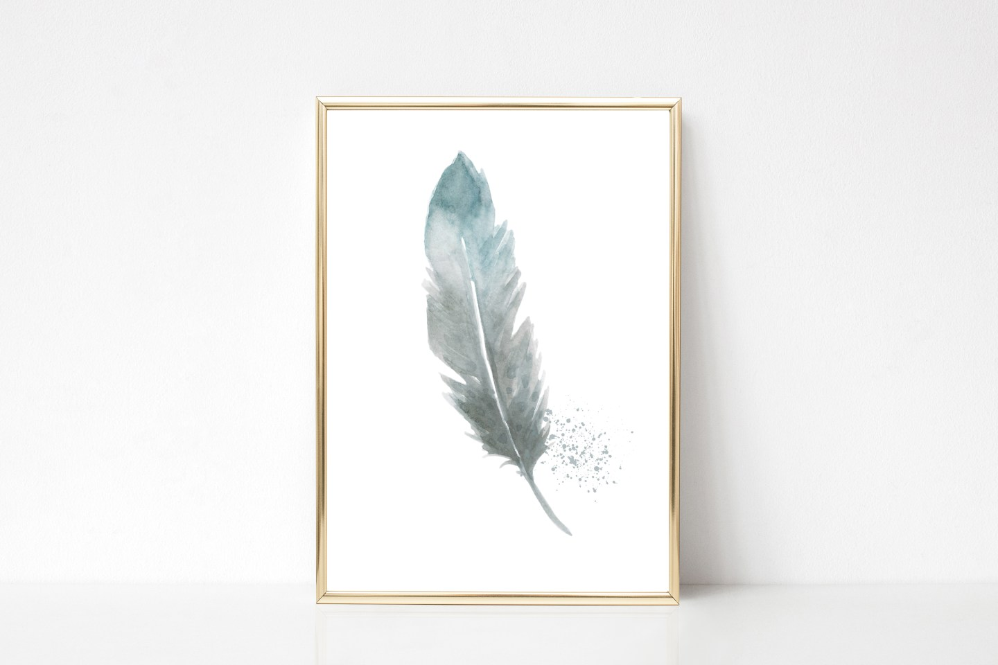 Free Printable Office Wall Art Prints: Blue Watercolor Single Feather