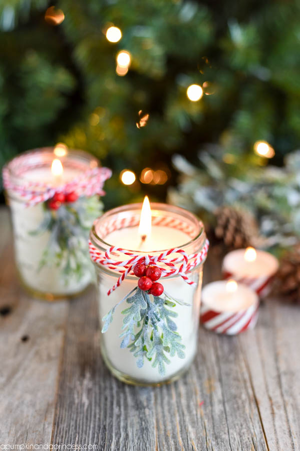 DIY Creative Christmas Gifts: Peppermint Mason Jar Candles