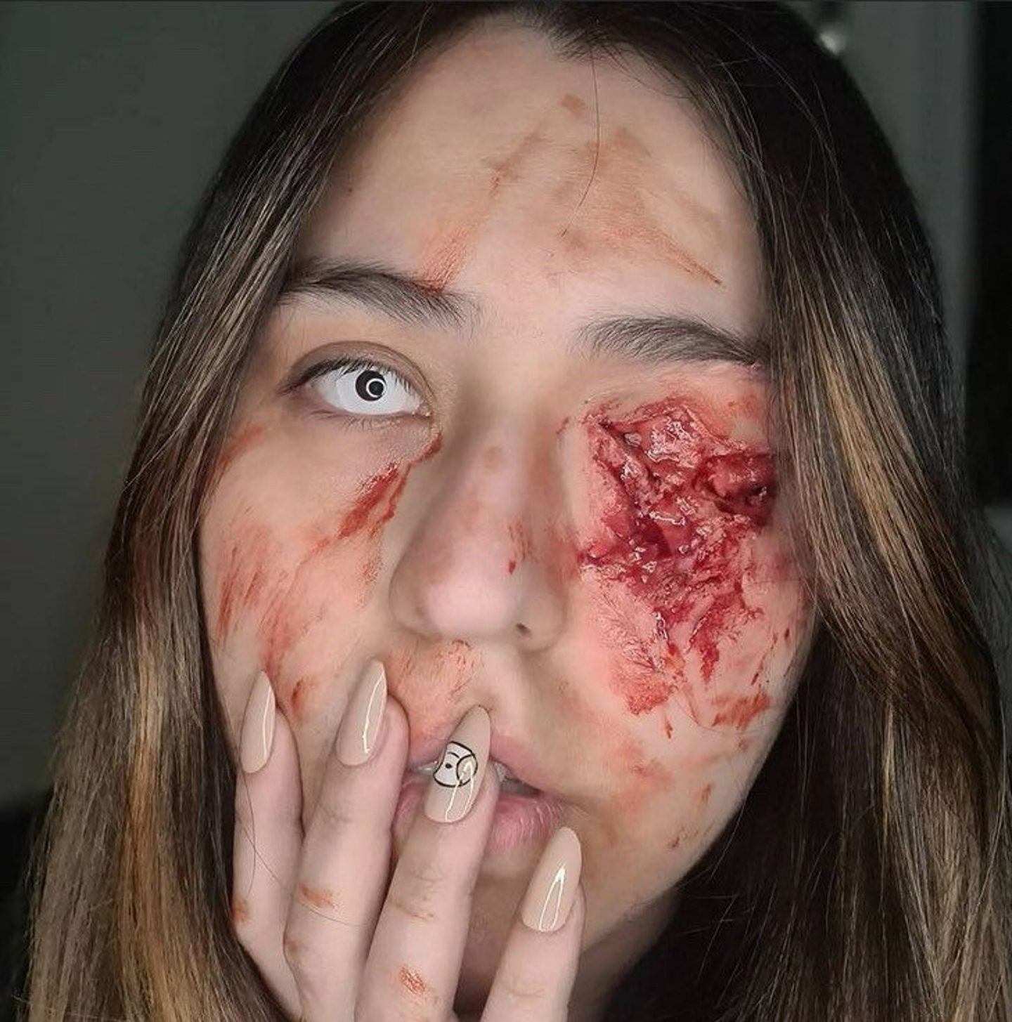 Gauged Out Eye Wound Halloween SFX Silicone Face Prosthetic