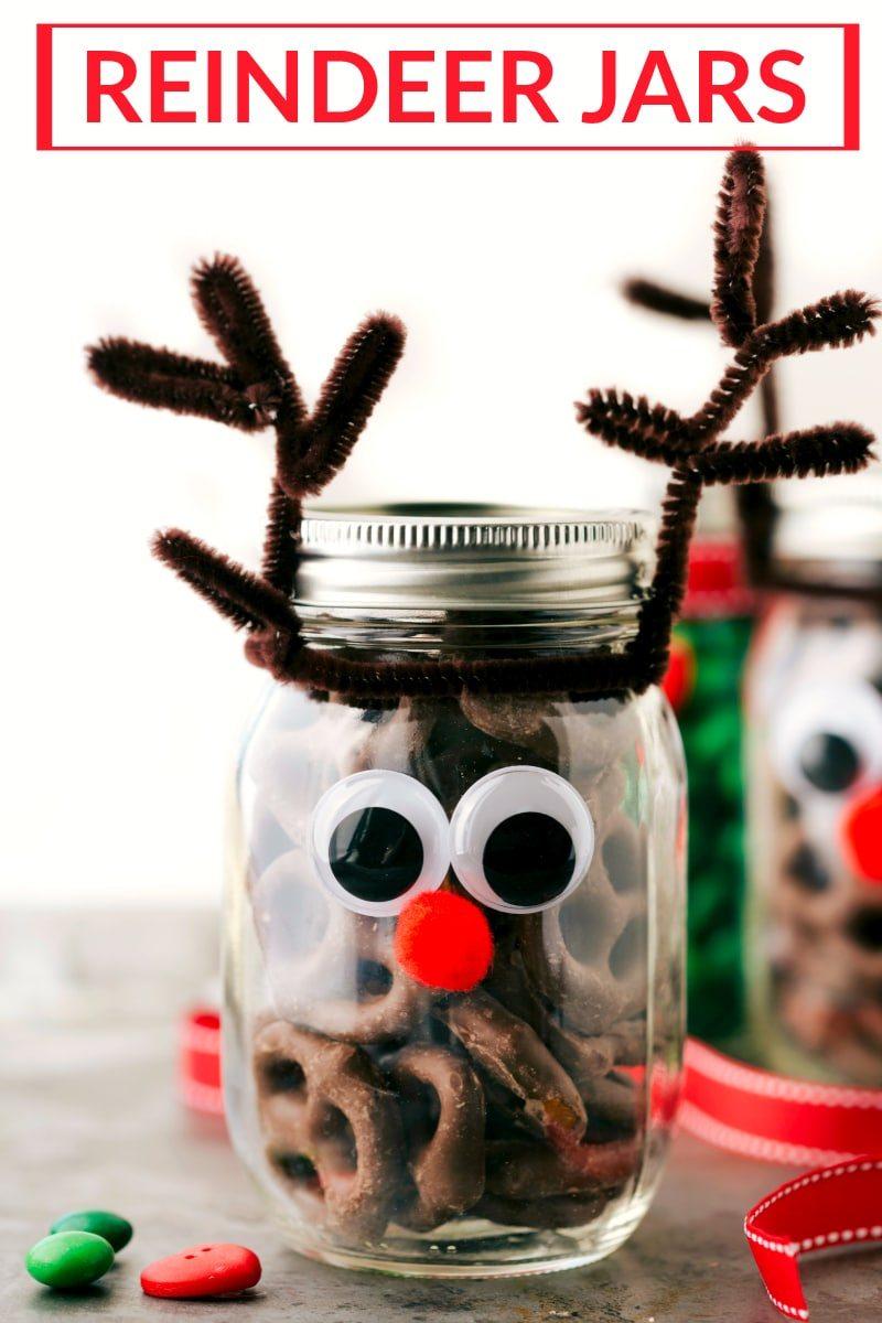 Cute DIY Christmas Gift Ideas: Reindeer Mason Jars