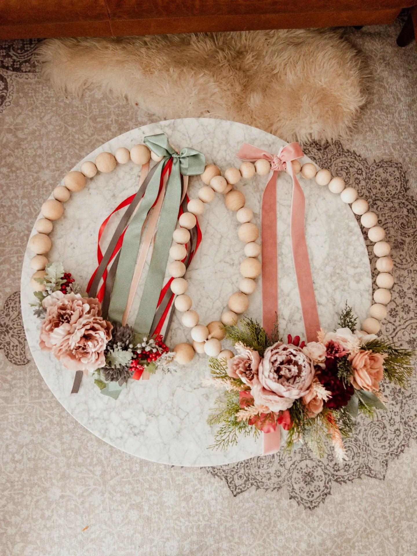 Easy DIY Wooden Bead Christmas Wreath