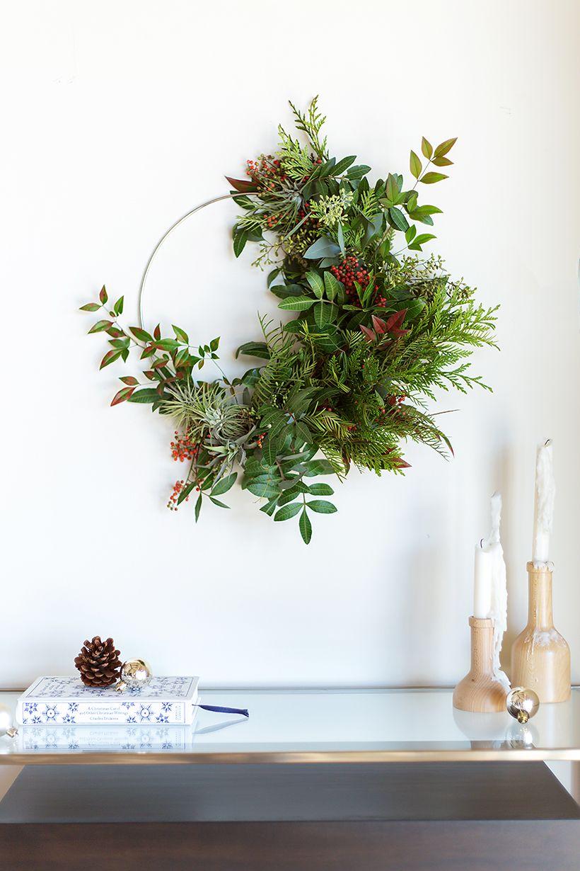 DIY Hoop and Fresh Greenery Christmas Wreath