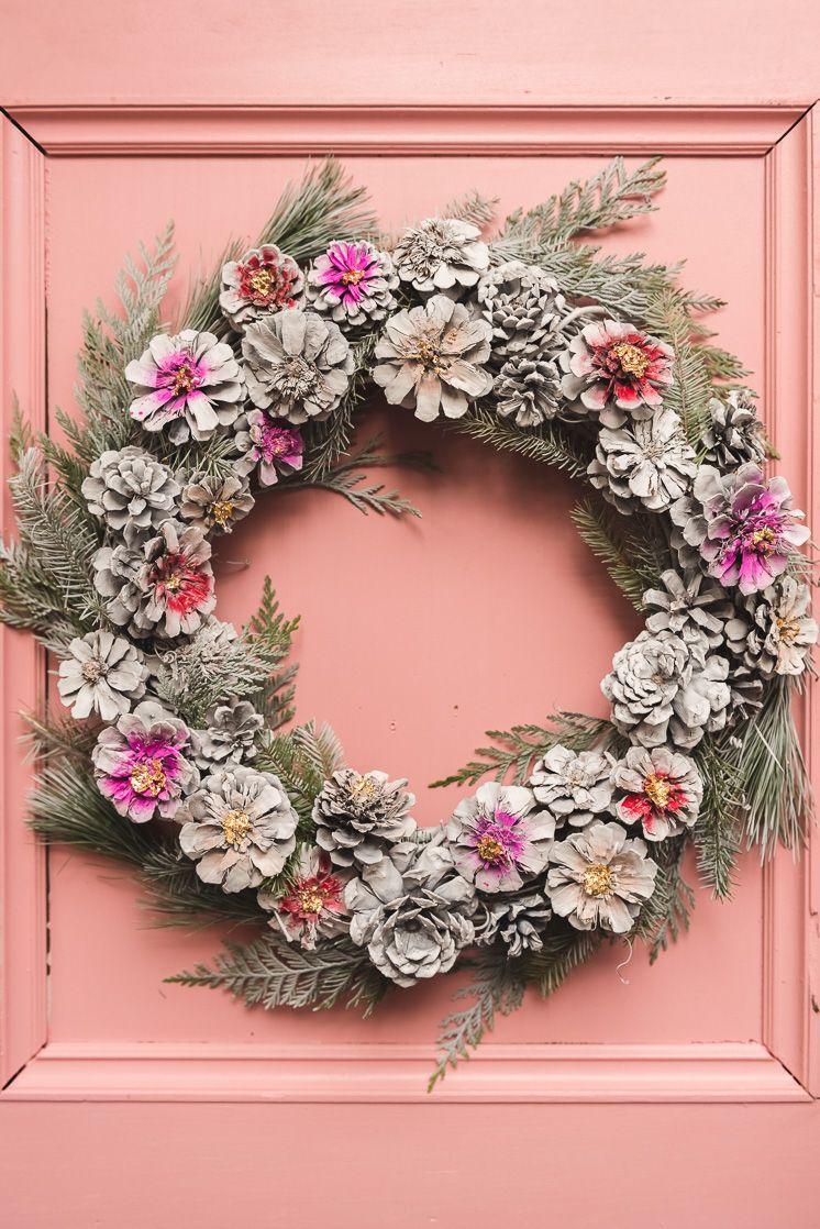 DIY Painted Pine Cone Wreath