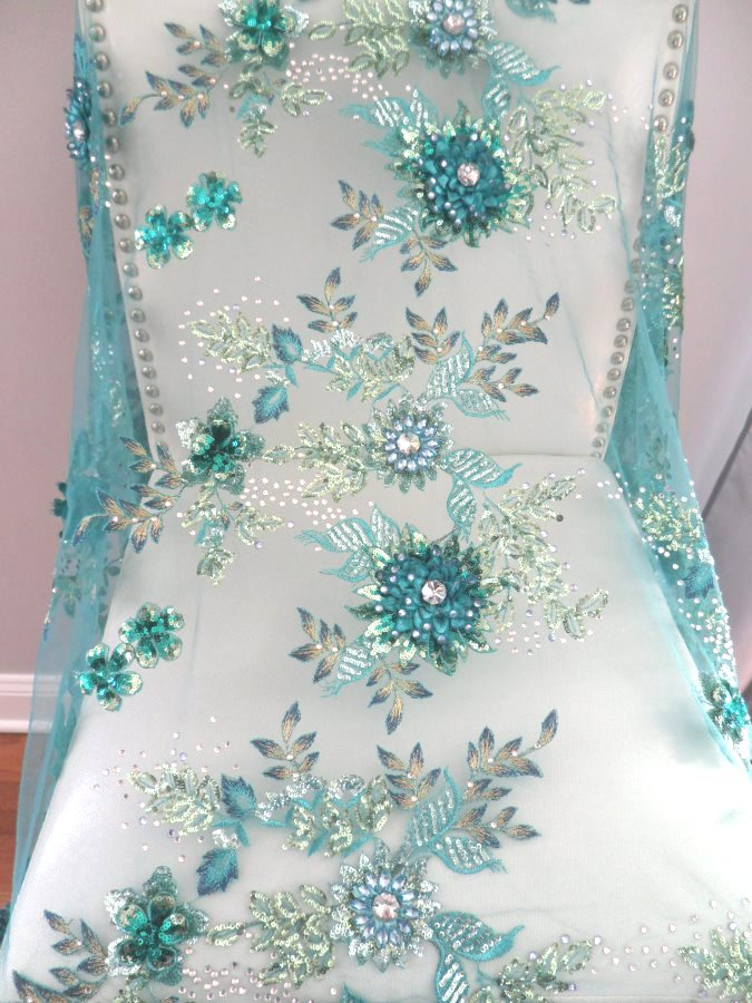 Embroidered 3D Applique Fabric Teal Sequin Rhinestone Floral Design DH78