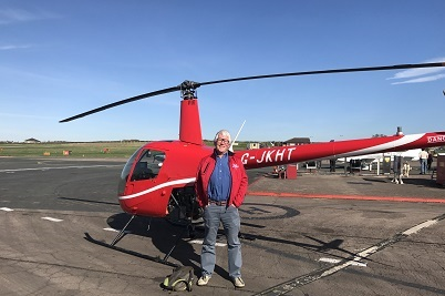 Another helicopter pilot successfully completes his first solo flight at Gloucestershire Airport.