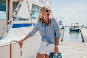 Lightweight Button Downs with White Short for Summer on Lake Michigan in Wisconsin